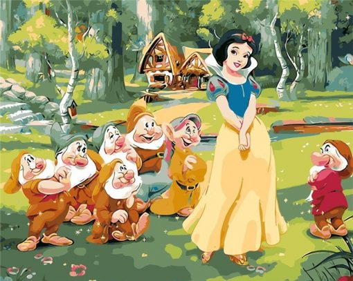 Snow White 7 Dwarfs Paint by numbers