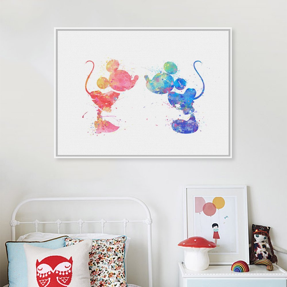Watercolor Mickey Mouse Wedding Decoration Love Couple Pop Cartoon Art Prints Poster Home Wall Pictures Canvas Painting