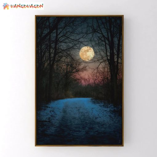 Night Abstract painting with beautiful moon