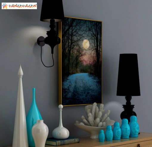 Night Abstract painting with beautiful moon for living room decoration