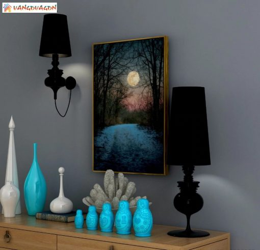 Night Abstract painting with beautiful moon for home decor