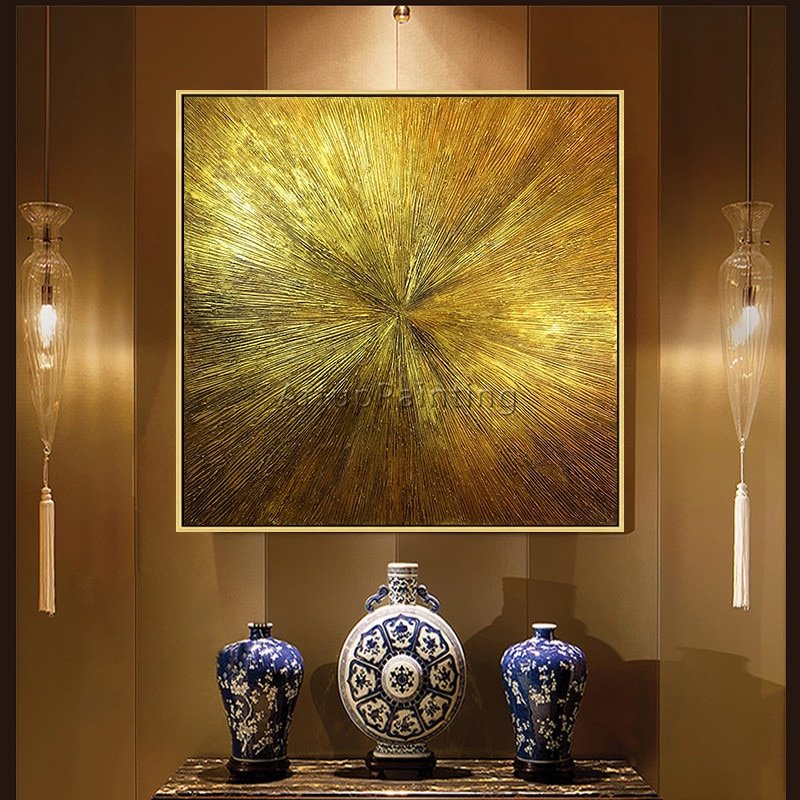 Geometric Gold Abstract Wall Art For Living Room