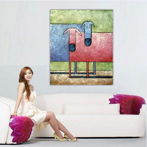 Girl with Abstract Cows Painting for home decor