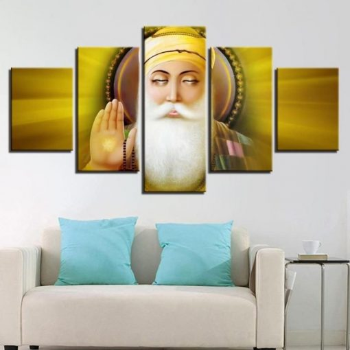 5 Panel Guru Nanak Canvas Art for Home Decor
