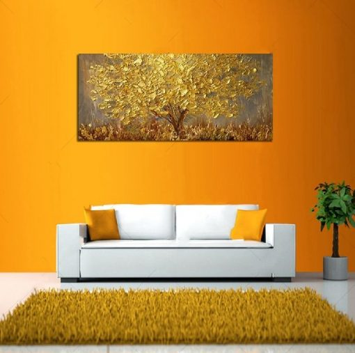Gold Tree Painting Home Decor