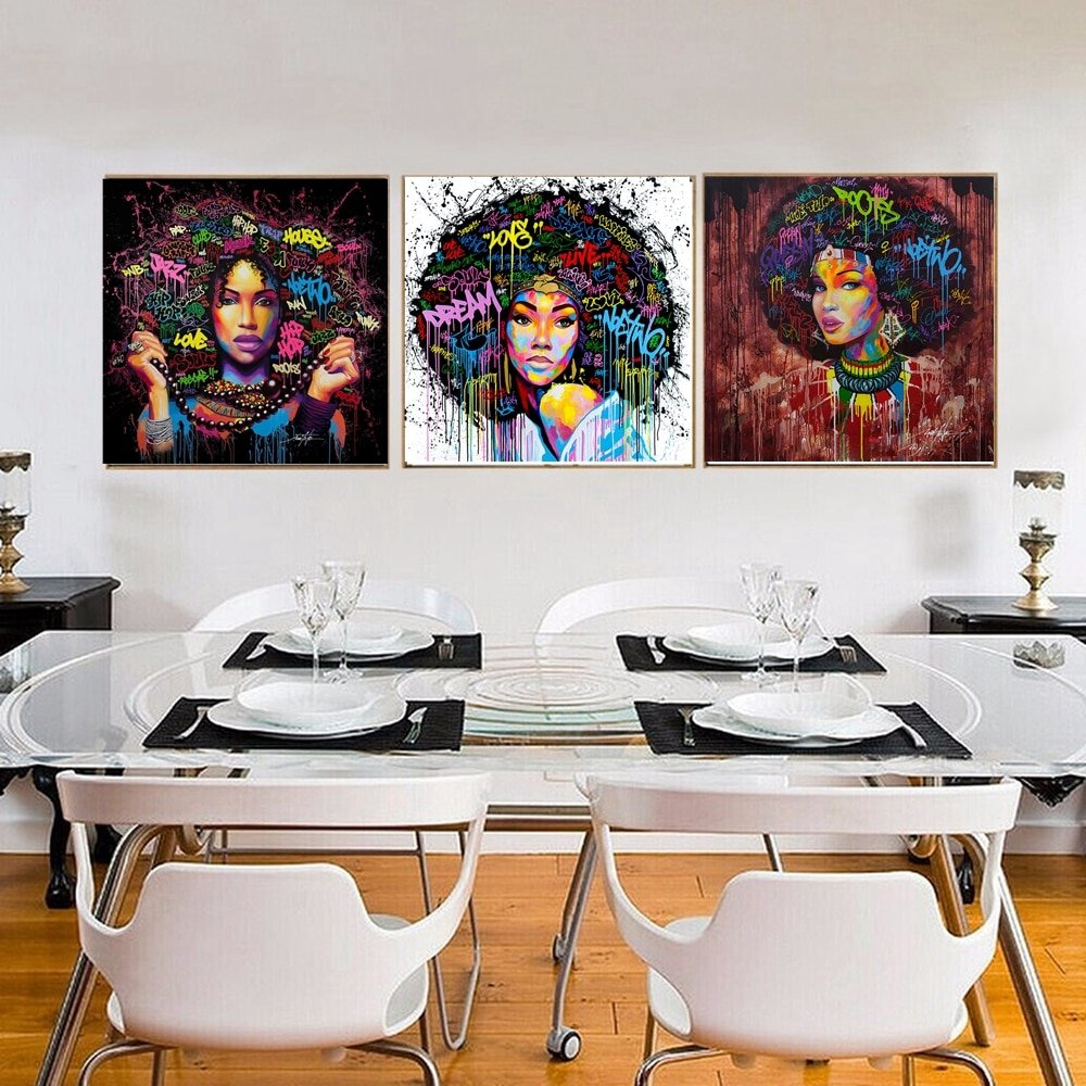African girl printed canvas wall painting