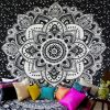 Mandala tapestry hanging on wall