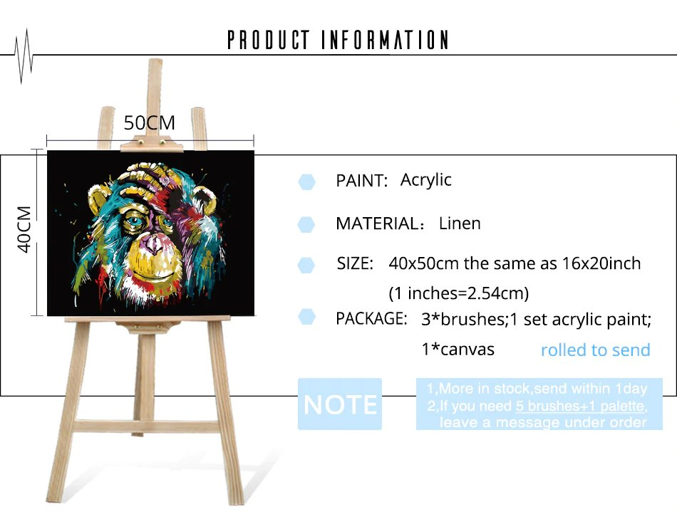 Colorful Gorilla Money Paint By Numbers DIY Kit