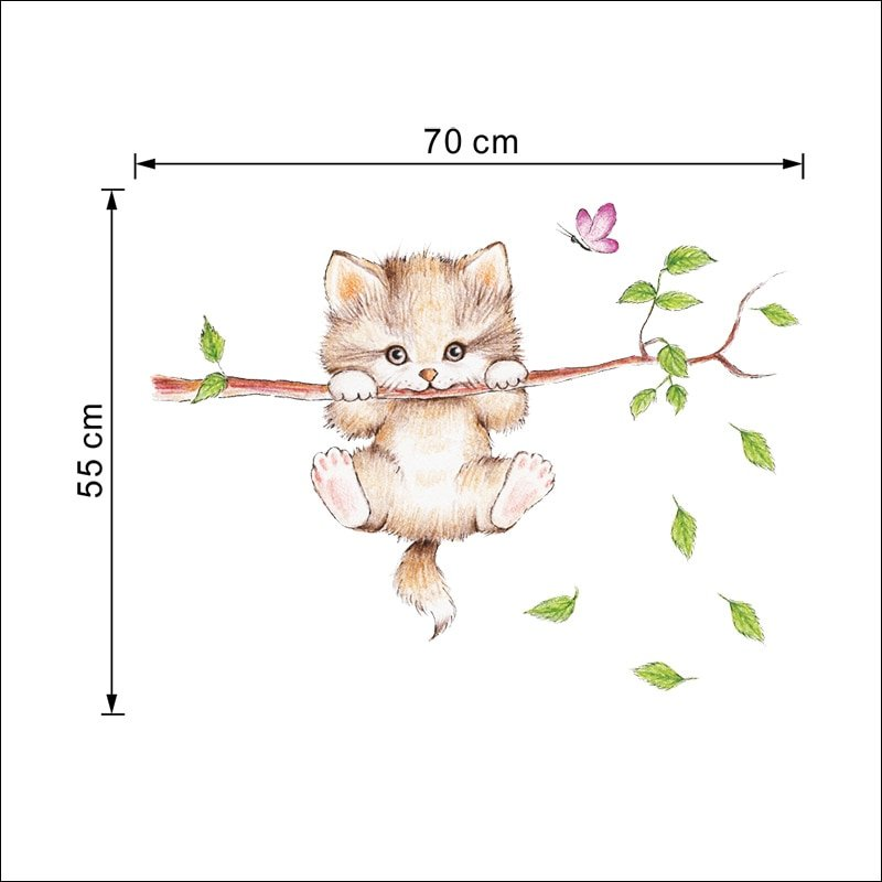 Kitten on Tree Branch Wall Sticker