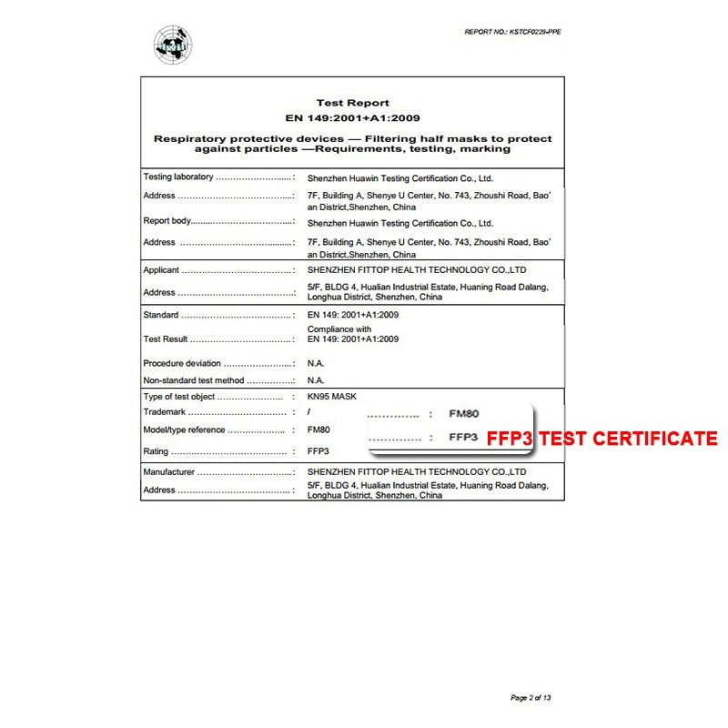 KN95 CE Certified FFP3 Anti Virus Mask Anti 5 Pcs