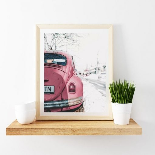 pink beetle art print for decor