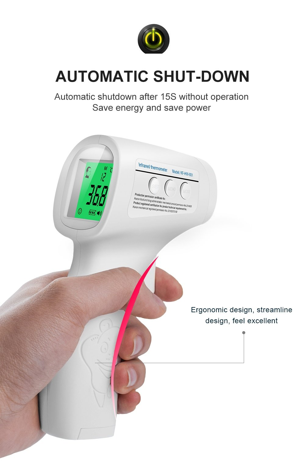 Non Contact Digital Infrared Thermometer Gun Adults Kids